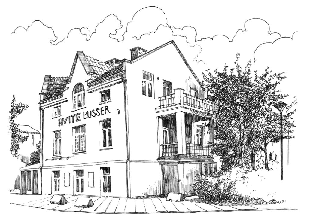 Hvite Busser holder hus i Ferjegata 1 i Porsgrunn