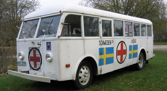 En av de hvite bussene brukt under redningsaksjonen operasjon hvite busser i 1945